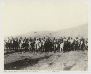 Nez Perce group known as Chief Joseph's Band, Lapwai, Idaho, spring, 1877 Courtsey of The North West Museum